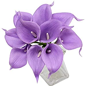 Angel Isabella, LLC 20pc Set of Keepsake Artificial Real Touch Calla Lily with Small Bloom Perfect for Making Bouquet, Boutonniere,Corsage (Solid Lavender) 12