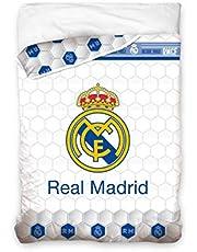 Asditex EDREDON Cama de 90 cm Modelo Real Madrid C.F - Estampado Blanco con Escudo del Madrid