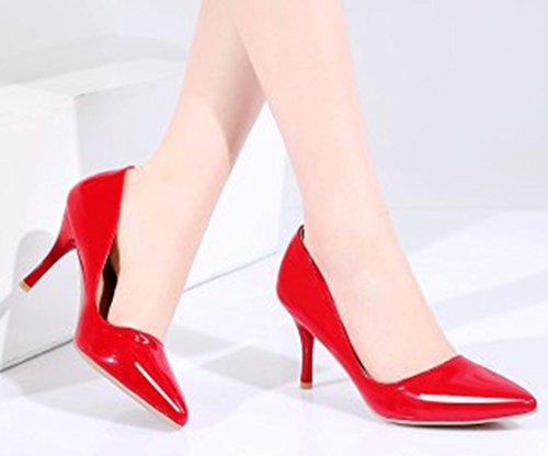 Aisun Donna Semplice Brunito Dressy Taglio Basso Punta A Punta Stiletto Tacco Alto Da Indossare A Lavoro Slip On Pumps Shoes Rosso