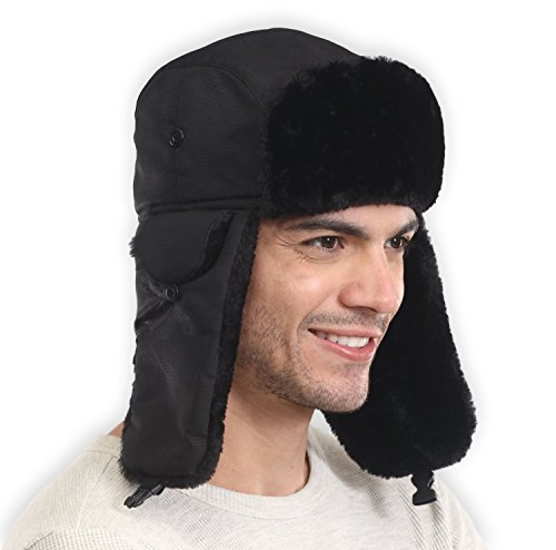 Trapper Hat with Faux Fur & Ear Flaps - Ushanka Aviator Russian Hat for Serious Expeditions & Serious Style. Waterproof, Windproof & Thermal Shell for Winter Warmth - Fits Men & (Trapper Bomber Hats)