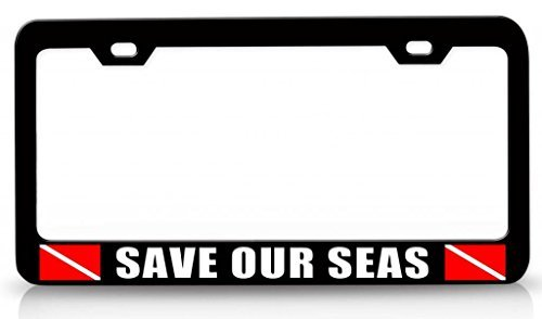 Tollyee Save Our SEAS Scuba Diving Steel Metal License Plate Frame Bl # 95