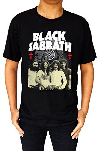 Logo Music Band - Black Sabbath Music Band Logo Ozzy Mask Demon Cross Men's T-Shirt XX-Large Black