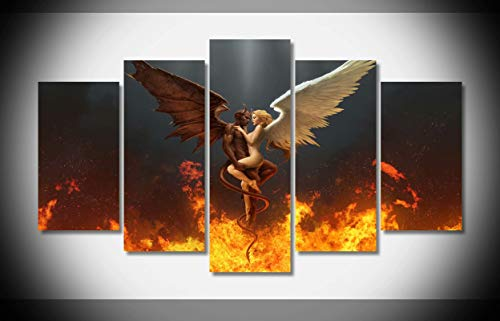 Angels Stretched Canvas - Canvastyle 5pcs Angel Devil Fire Wreath Wings Artwork Stretched and Framed Modern Canvas Wall Art