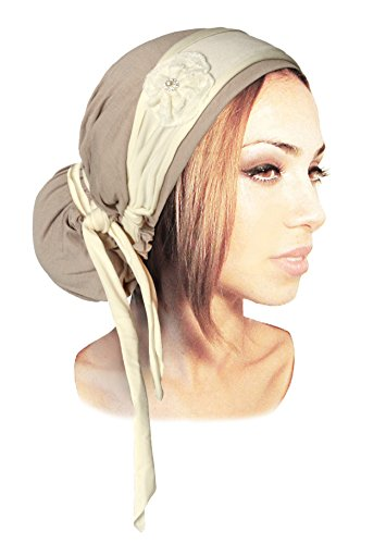 ShariRose Boho Chic Beige Head-Scarf Embellished With Off-White Ivory Wrap Sparkly Handmade Flower Rhinestone Pearl Center! (Beige Ivory Pearl - (Flower Rhinestone Center)