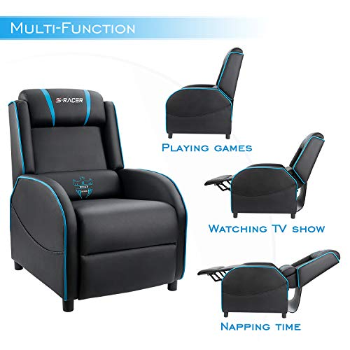 black leather recliner gaming chair homall gaming recliner chair single living room sofa 11227 | 41PNZmB6J4L