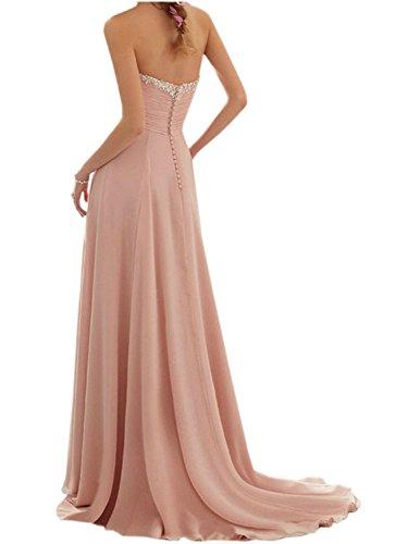 Dama de la Vestido Elegante de Mujer Tirantes Noche de Fiesta Gasa Vestido A de Partido Largo JAEDEN Line Rosa Vestido de Sin Vestido Honor HpqRWxnTY