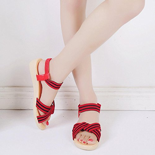 Sandalias de vestir, Ouneed ® Las mujeres de moda Bohemia ocio sandalias Peep-Toe zapatos a rayas Rojo