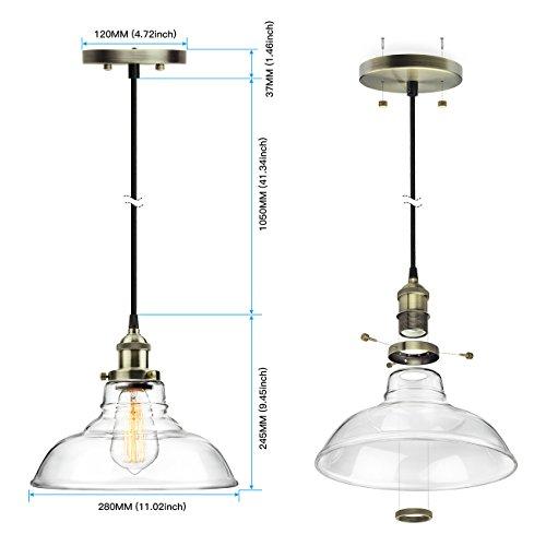 Leonlite 3 Pack Industrial Pendant Lighting For Kitchen: 3-Pack Pendant Light Hanging Glass Ceiling Mounted