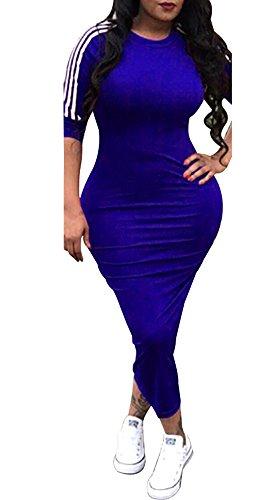 Chellysun Women Striped Half Sleeve Bodycon Dress Slim Fit Midi Dress Clubwear