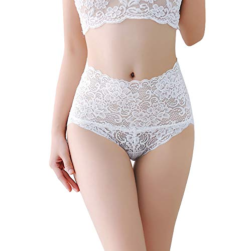 Women's Sexy Lace Panties High-Rise Tummy Control Lingerie Underwear Briefs Floral Lace Boy Shorts White Tag ()
