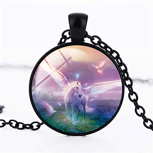 Necklace for Men New Unicorn and Pegasus Necklace Unicorn Glass Pendant Jewelry Glass Art Cabochon Fantasy Style Art Gift for Girl
