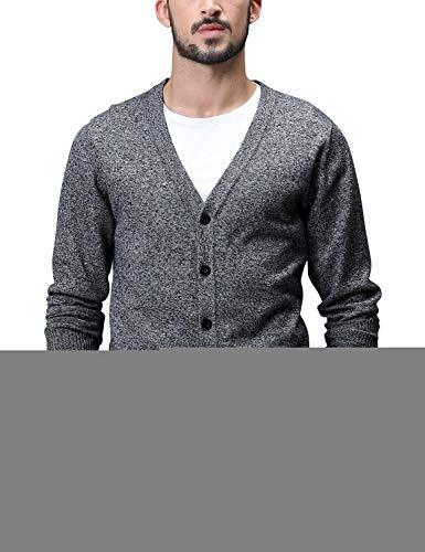 Match Men's Sweater Series V-Neck Button Up Cardigan #Z1522(US XL (Tag Size 3XL),Z1522 Dark Heather Gray)