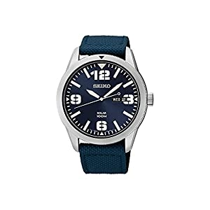 41PNahzaBAL. SS300  - Seiko Men's Blue Dial Blue Nylon Strap Solar Watch