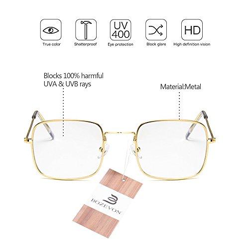 marco blanco De Gafas Lentes Dorado BOZEVON Metal lente Protecciòn Unisex Sol UV400 Vintage Marco Espejo BTwpA