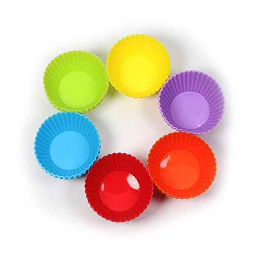 New Arrival Baking Necessary 24 Pack Round Shaped Silicone Cake Mold Muffin Cups Pudding Jelly Molds