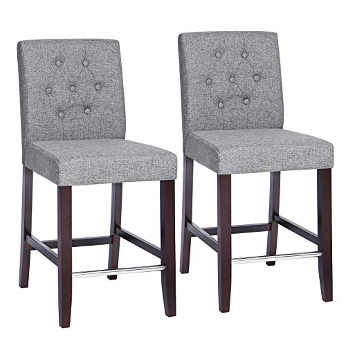 (SONGMICS Set of 2 Bar Stools Kitchen Breakfast Chairs, with Button Tufted Backrest, Linen-Style Fabric, Solid Wood Legs, with Footrest, Light Gray ULDC34GYX)