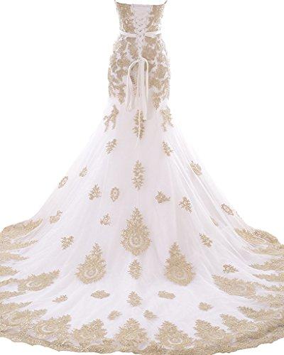 Women's Lace Appliques Mermaid Wedding Dresses 2017 Bridal Gowns Dress for Bride