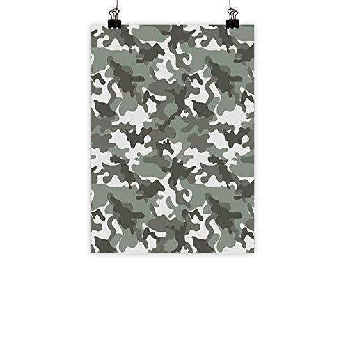 BarronTextile Camouflage Modern Oil Paintings Monochrome Attire Pattern Camouflage Inside Vegetation Fashion Design Print Canvas Wall Art Grey Coconut 20