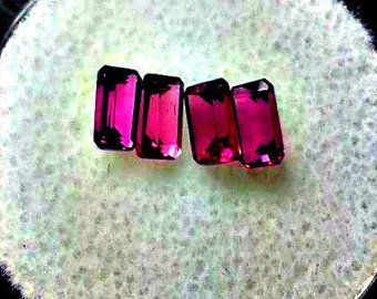 Lot of 4, 5x3mm Baguette Cut Rhodolite Garnet Facets, Gemstone Parcel. Garnet Crystals for Collection, Wire Wrapping, Healing, Jewelry ()