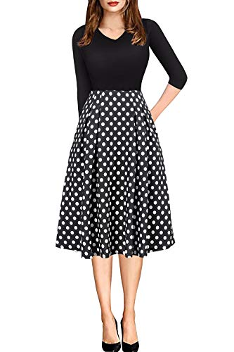 (Womens Casual A-line Dress with Sleeve Pocket Vintage Church Suites Polka Dot Large)
