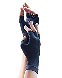 Copper Compression Gloves for Hands Arthritis Black Size XLarge