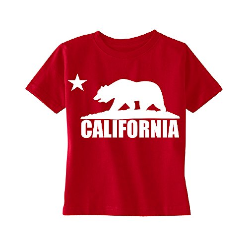 (California Bear White Star TODDLER T-shirt Cali Life California Kids Red 3T)