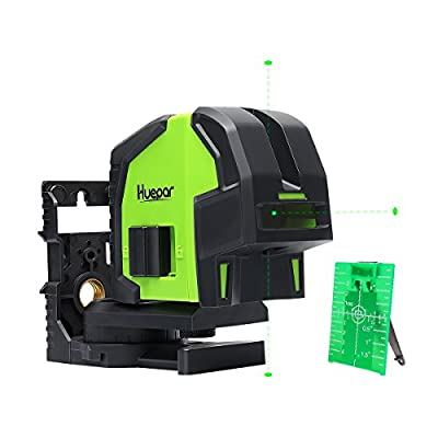 Huepar 3-Point Self-leveling Green Beam Laser Level, accurate to 1/4 inch at 100 feet with Sharp, Crisp Reference Points Laser