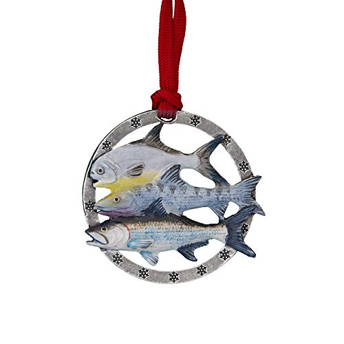 Creative Pewter Designs Grand Slam Hand Painted Ornament, SP035OR (Painted Grande Hand Fish Design)