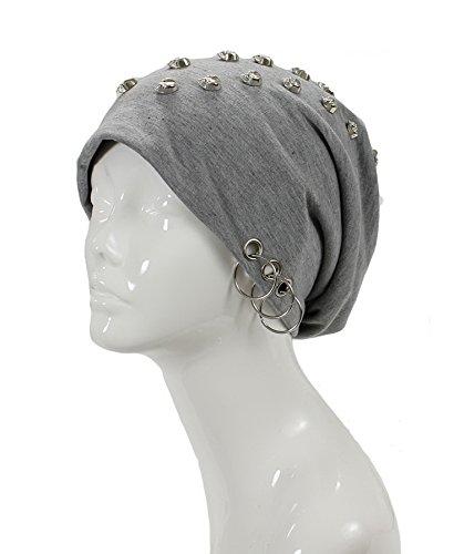 Chill Fleece Beanie - an- Unisex Edge Spiked Studded Soft Lightweight Fleece Lined Cotton Beanie Hat Skull Cap w/Skull Ring, Star, Leopard Face (Lt.Gray Skull Stud)