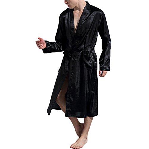 Opkelana Men's Solid Color Satin Robe Long Bathrobe Lightweight Sleepwear(Black,XXL) by Opkelana