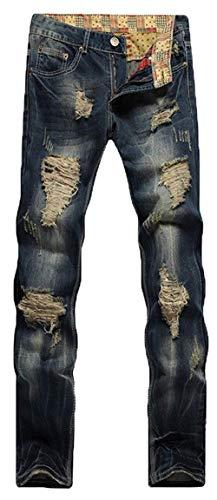 Piernas La Del De Pantalones Hombres Vaqueros Ajustados Destruidas 928 Hendiduras Pierna Moda Colour Motorista Mezclilla Los Usalook HwFBR