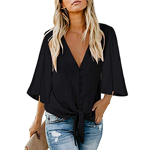 aihihe Womens Button Down V-Neck Tops Ruffle Cap Sleeve Tie Knot Front Chiffon Summer Casual Shirt Blouses(Black,S)