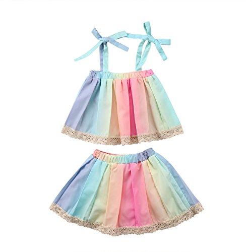 docotor akio 2pcs Baby Girls Summer Rainbow Set Stripe Bowknot Straps Top+Tutu Lace Dress (110(3-4T))
