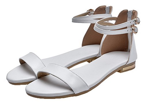Low EGHLG004776 Zipper Heels White Women's Solid Pu Toe Open WeiPoot Sandals HStnqzw