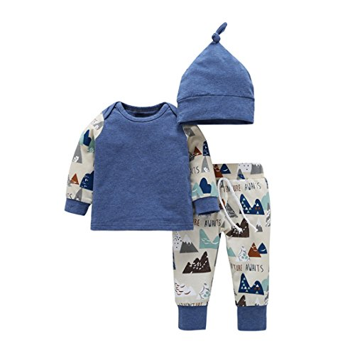 Fall 3 Piece Outfit (YIJIUJIU Toddler 3 Piece Outfits Baby Boys Clothes Mountains Adventure Tops +Pants Set with Hat 12-18 Months)
