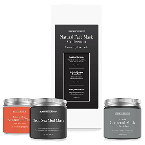 Pure Body Naturals Premium Face Mask Collection, Dead Sea Mud/ Charcoal Creme/ Bentonite Clay, 8.8 Ounce