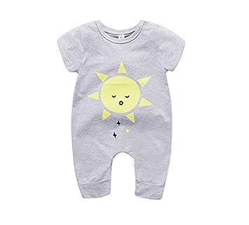1ee07079efd23 エルフ ベビー(Fairy Baby)ベビー服 ロンパースカバーオール 半袖 夏 可愛い太陽柄 グレー サイズ