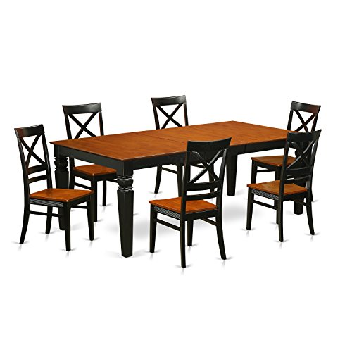 East West Furniture LGQU7-BCH-W 7 Piece Kitchen Table Set with One Logan Dining Room Table and Six Dining Chairs in Black & Cherry Finish
