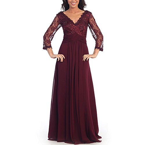 AbaoWedding Women's Long Sleeves Double V-neck Lace Evening Dress