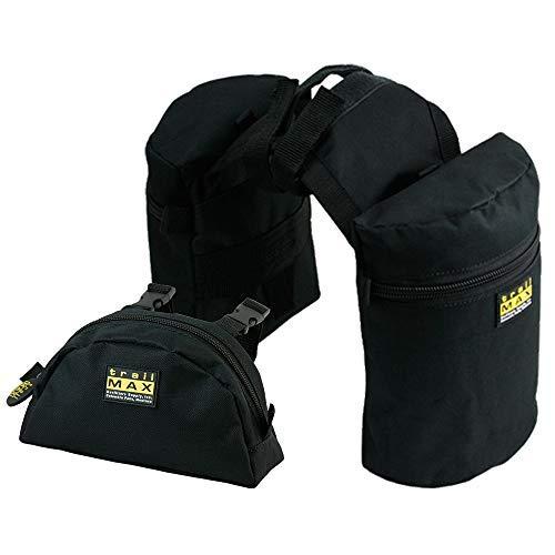 TrailMax Medium-Sized Saddle Horn Bag & Pommel Pocket Combo, Trail Riding Saddle-Bags with 1 Set of TrailMax Horn Bags & 1 Pommel Pocket (Black)