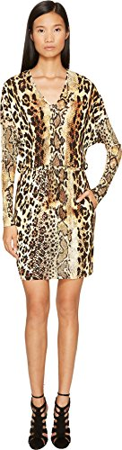 Just Cavalli Women's Long Sleeve V-Neck Mixed Animal Print Jersey Dress Natural 42 (US 4)