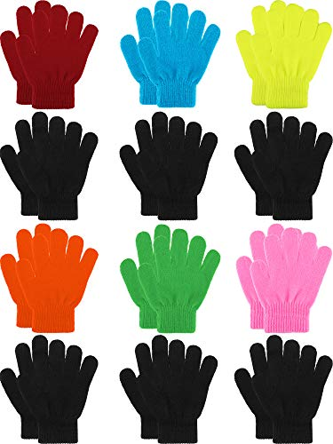 Sumind 12 Pairs Winter Knitted Magic Stretch Gloves Kids Boys Girls Knit Cotton Warm Gloves for Children (Rainbow Colors, Kids Size 5 to 12 Years)