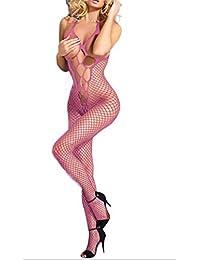 Women Sexy Lace Fishnet Lingerie Crotchless Bodysuit Bodystocking Sleepwear