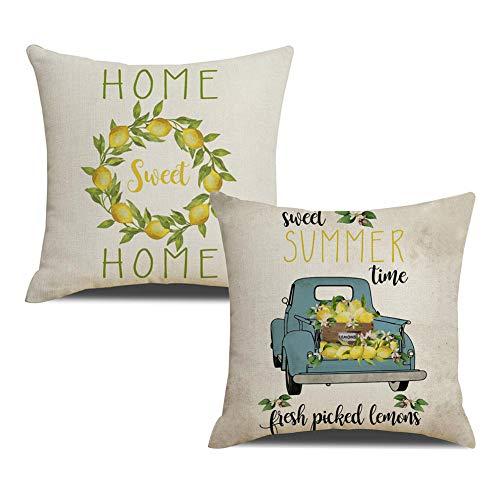 KACOPOL Farmer's Market Fresh Lemon Blue Truck Pillow Covers Farmhouse Quotes Home Sweet Home Summer Decorative Cotton Linen Throw Pillow Case Cushion Cover 18