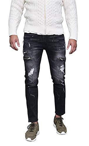 Strappati Colour Distressed Uomo Vintage Casual Biker Slim Jeans Straight Fit Denim Pantaloni Da 7xpBwqHRt