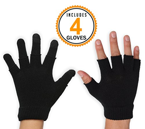 3-in-1 Touchscreen Magic Gloves - Versatile & Lightweight Thermal Knit Gloves Designed for Texting, Driving, Running and Casual Wear - 3-Finger Touch Screen Technology - Fits Men & Women