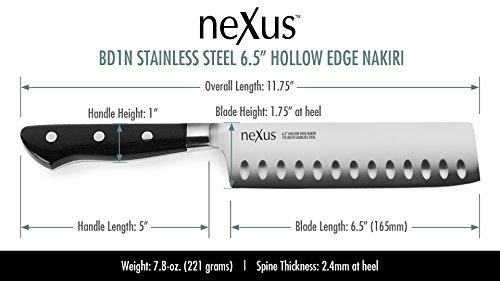 Nexus BD1N 6.5'' Nakiri Knife with Hollow Edge, 63 Rockwell Hardness, American Stainless Steel, G10 Handle - Japanese Vegetable Slicing Knife by Nexus (Image #1)