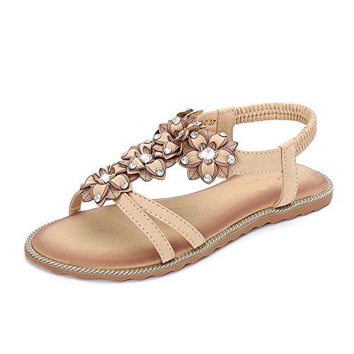 A Size Roman Flat uk6 Boho Toe Female Open Eu39 cn39 Beach Shoes B Amazing Summer Seaside color Bottom Sandals Vacation q8HZnH