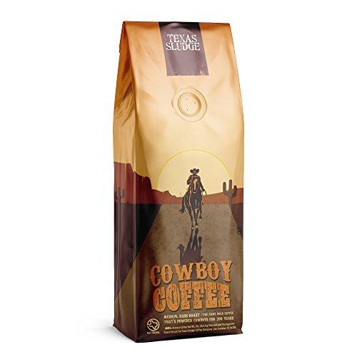 Texas Sludge Coffee - Cowboy Coffee Vienna Medium-Dark Roast 100% Premium Arabica Beans - 1 Lb. (Whole Bean)