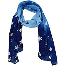 Peach Couture Exclusive Womens Vibrant Patriotic Fading Star Print Light Scarf